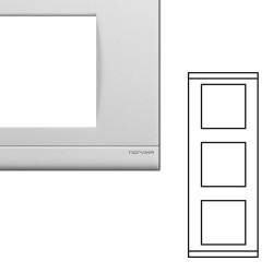 Plaque Triple Verticale Entraxe 71mm Blanc NORVIKA