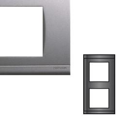 Plaque double verticale gris nacré