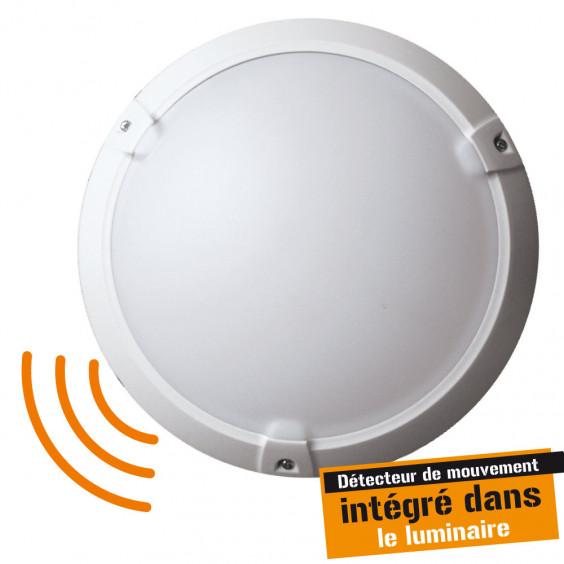 Hublot Extérieur Rond avec Détecteur 60W IP65 Blanc WOLTZ