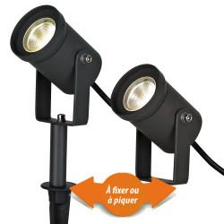 Spot à piquer ou à fixer gris LED 3W 250 Lumen IP65
