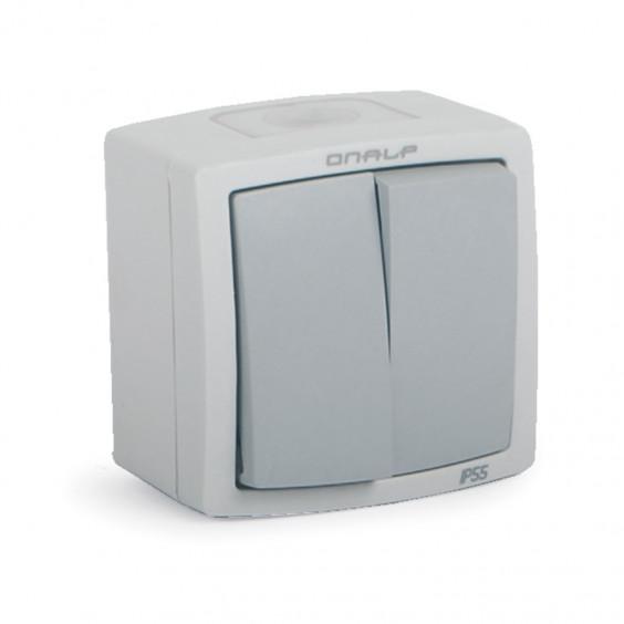 Interrupteur Va et Vient + Poussoir Etanche Extérieur IP55 Encastré ou Saillie ONALP