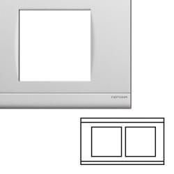 Plaque Double Horizontale Entraxe 57mm Blanc NORVIKA