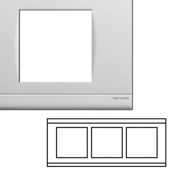 Plaque Triple Horizontale Entraxe 57mm Blanc NORVIKA