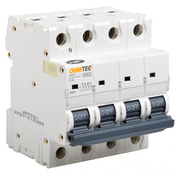 Disjoncteurs tétrapolaires 20A 4.5kA