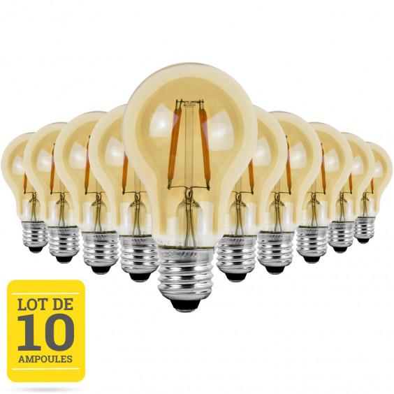 Lot de 10 ampoules LED à filaments E27 4W blanc neutre - Verre ambré - variable