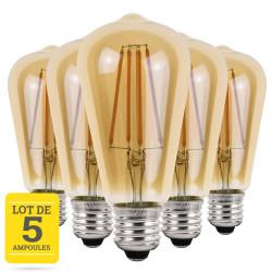 Lot de 5 ampoules LED conique à filaments E27 4W blanc neutre - Verre ambré - variable