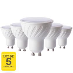 Lot de 5 ampoules LED GU10 7W blanc chaud - dimable