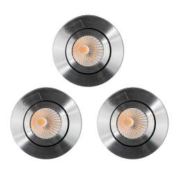 Lot de 3 spots à encastrer LED COB 9W orientable alu
