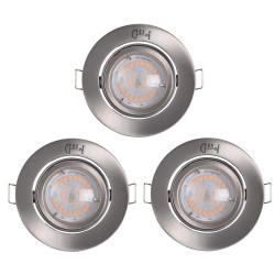 Lot de 3 spots alu brossé avec ampoule LED
