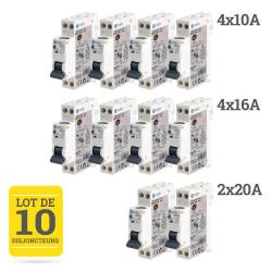 Lot de disjoncteurs à vis - 1P+N - 3kA NF NALTO - 4x10A + 4x16A + 2x20A