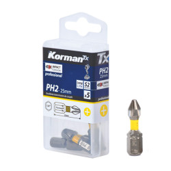 Jeu de 5 embouts Impact Torsion PH2 25mm KORMAN TX