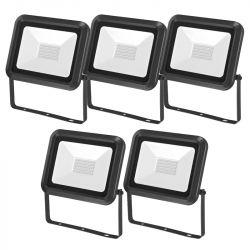 Lot de 5 Projecteurs LED Extérieur Extra Plat 50W Noir CREALYS