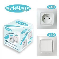 Pack Démarrage Blanc ADELAIS : 40 prises + 10 Va-et-vient (produits complets avec plaques)