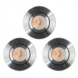 Lot de 3 spots Encastrable Orientable LED COB 9W Rond Alu
