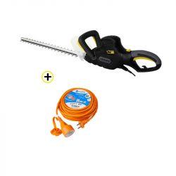 Pack Taille-haie Électrique 600W 610mm + Rallonge de Jardin 20 m Câble Orange 2G 1,5mm2 Avec Clapet de Protection