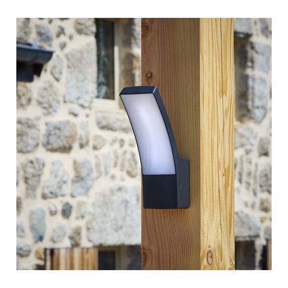 Applique Extérieure Incurvée LED SMD 12W Fonte d'aluminium Noir CREALYS