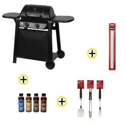 Pack Barbecue Gaz 2 Brûleurs Grill, Ustensiles, Brochettes et Sauces ROSTER