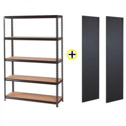 Pack Étagère de Rangement 5 Niveaux + 2 Panneaux muraux perforés FEROCE